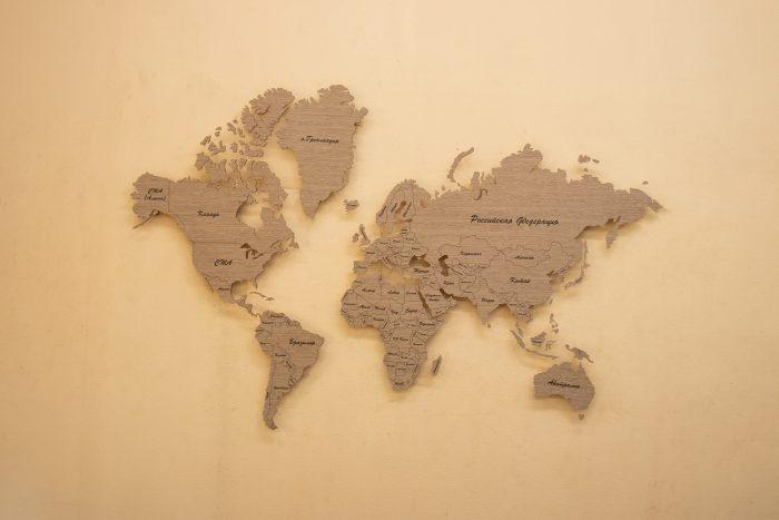 Деревянная Карта Мира из шпона Файн-Лайн. Мир.