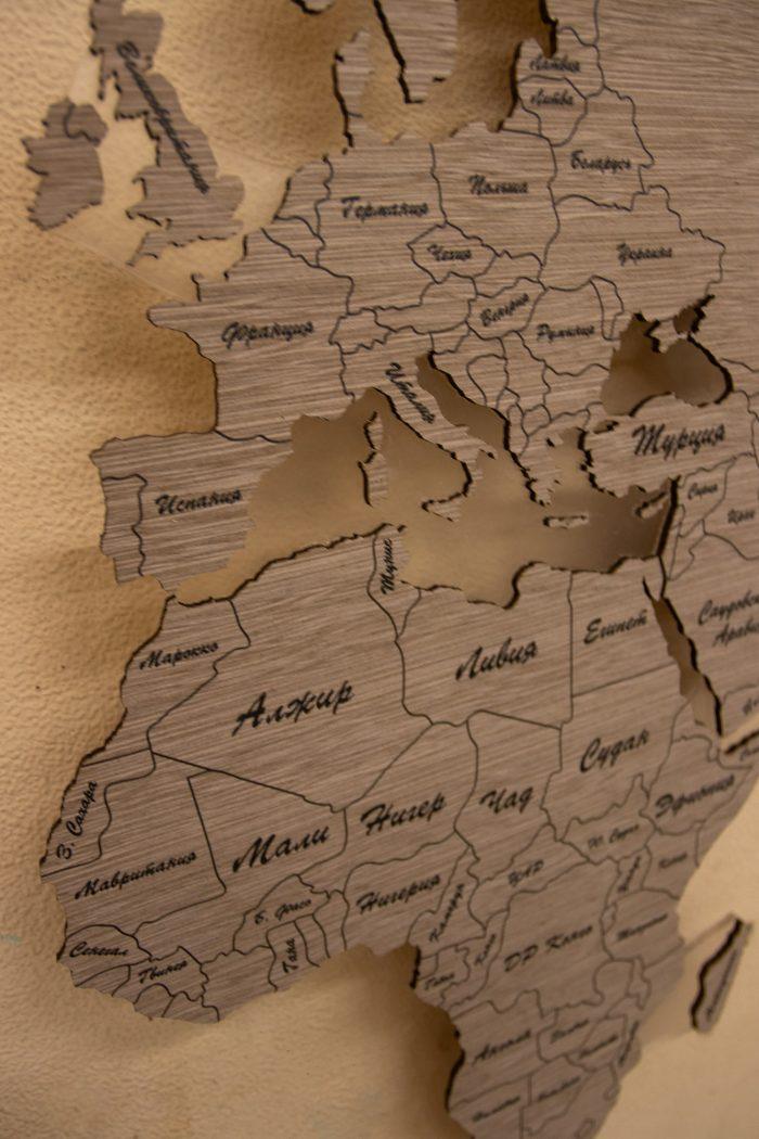 """Деревянная Карта Мира из шпона Файн-Лайн """"Дуб 2325QM. Африка"""