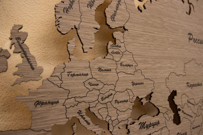 Настенная Карта Мира из шпона Файн-Лайн. Европа