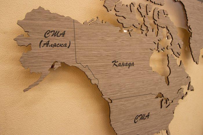 Деревянная Карта Мира из шпона Файн-Лайн. Америка