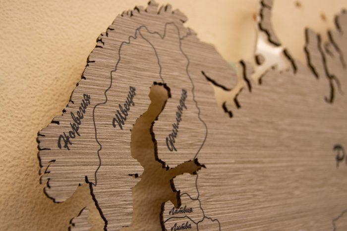 Настенная Карта Мира из шпона Файн-Лайн. Скандинавия