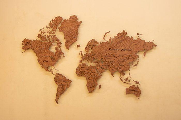 """Деревянная Карта Мира из натурального шпона """"Бубинго"""" Целый мир"""
