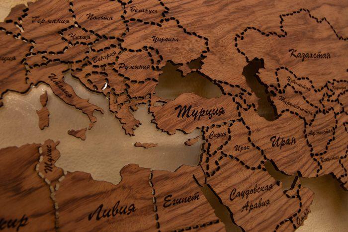 """Настенная. Карта Мира из натурального шпона """"Бубинго"""" Европа"""