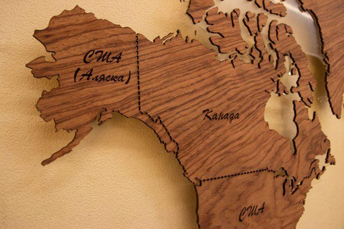 """Карта Мира из натурального шпона """"Бубинго"""". Северная Америка."""