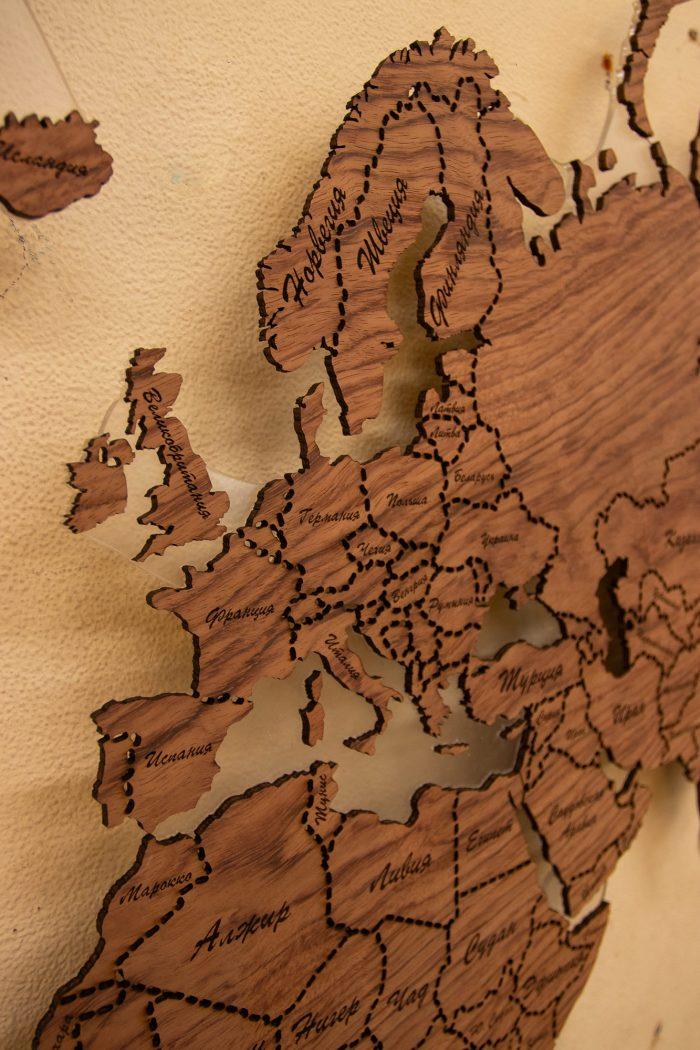 """Настенная Карта Мира из натурального шпона """"Бубинго"""" Скандинавия."""