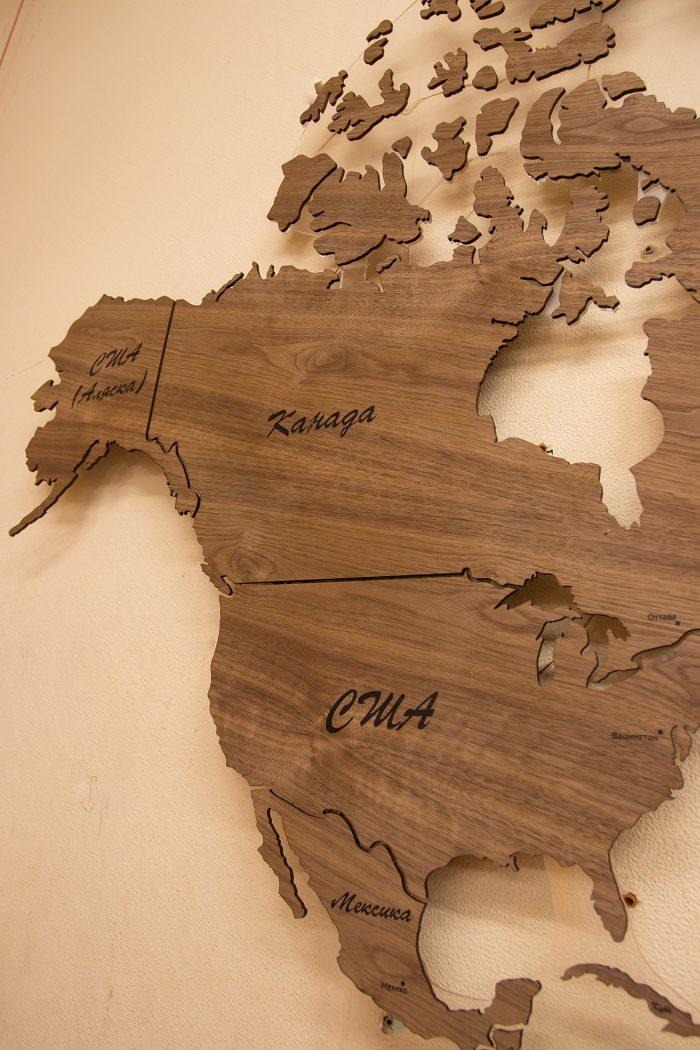 Деревянная Карта мира из натурального шпона - Американский орех. Америка