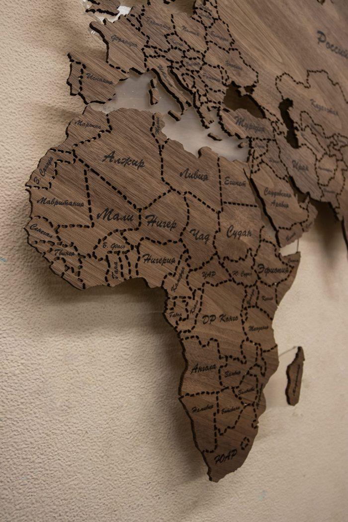 Деревянная Карта Мира из Ореха Американского. Африка