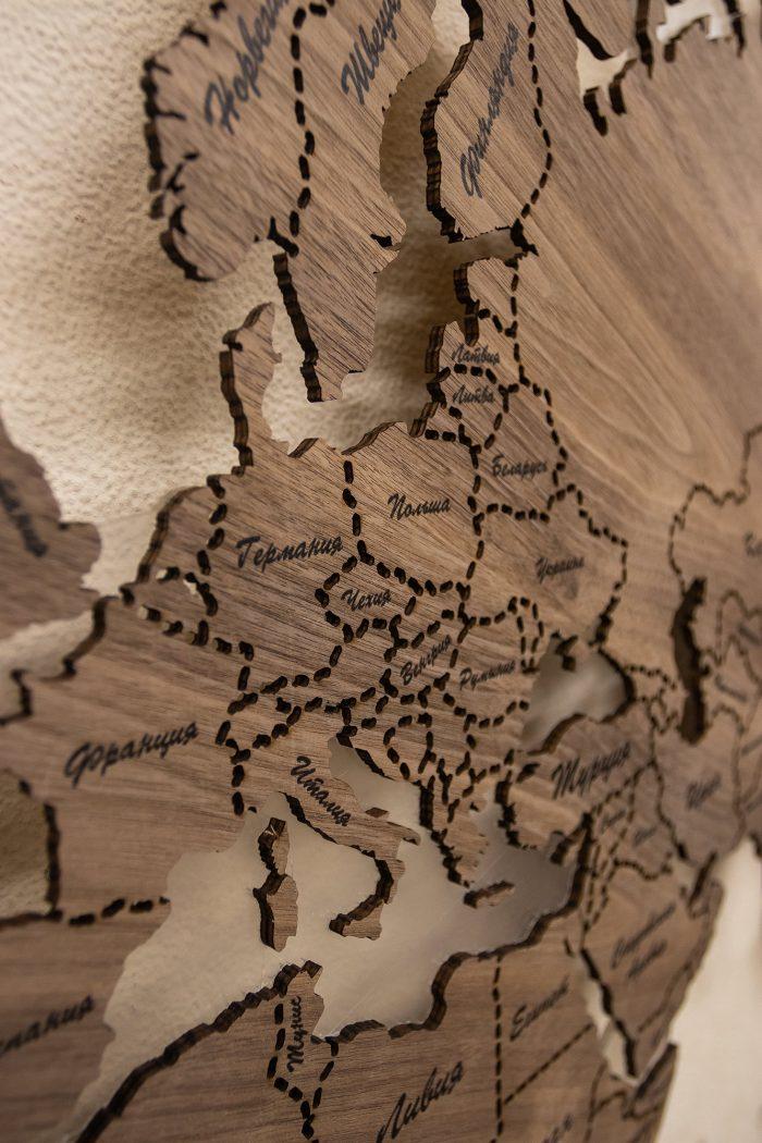 Деревянная Карта Мира из Ореха Американского. Европа
