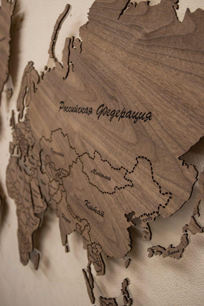 Деревянная Карта Мира из Ореха Американского. Российская Федерация