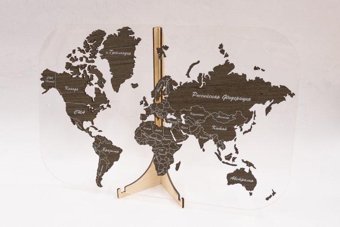 Подарочная карта мира с отделкой из шпона Файн-Лайн Дуб 21S Мореный. Россия и Мир