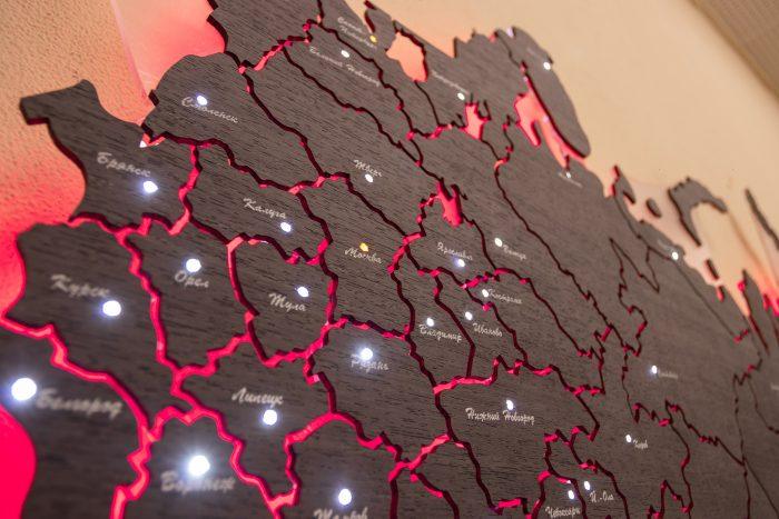 Настенная Карта России из дизайн-шпона Кото 04.003, Москва