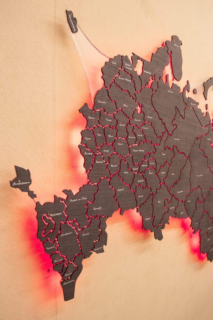 Декоративная Карта России из дизайн-шпона Кото 04.003 Запад России