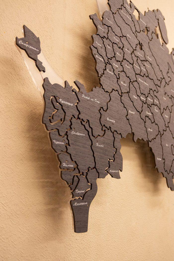 Настенная Карта России из дизайн-шпона Кото 04.003 Кавказ