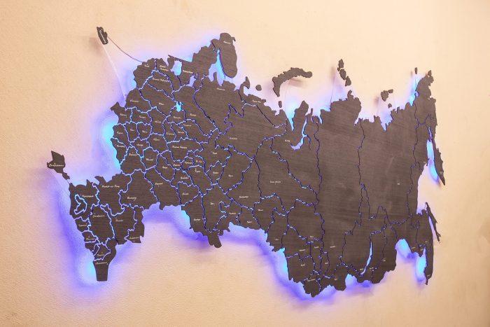 Декоративная Карта России из дизайн-шпона Кото 04.003. Россия с синей подсветкой