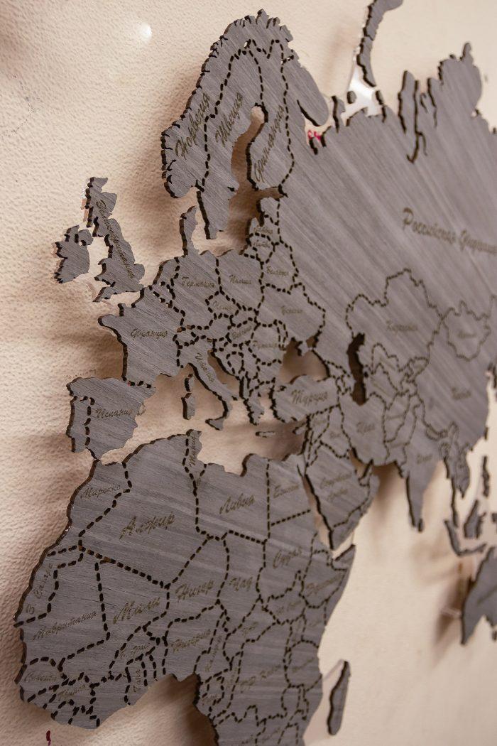 Декоративная Карта Мира из Дуба 7S. Россия и Африка