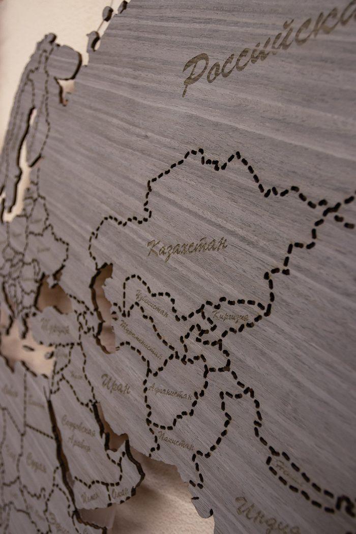 Настенная Карта Мира из Дуба 7S. Россия и Казахстан