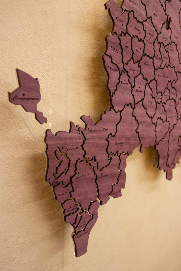 Деревянная карта России из Амаранта - Кавказ