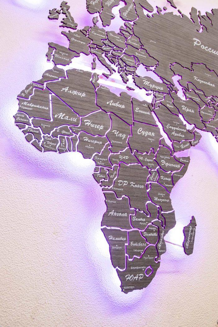 Деревянная карта мира из шпона Файн-Лайн Абрикос 03С с подсветкой и УФ-печатью