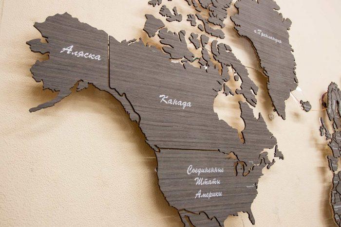 Карта мира из дерева из шпона Файн-Лайн Абрикоса 03С