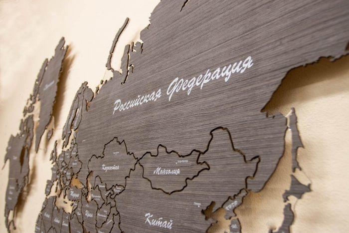 Карта мира из шпона Файн-Лайн Абрикоса 03С