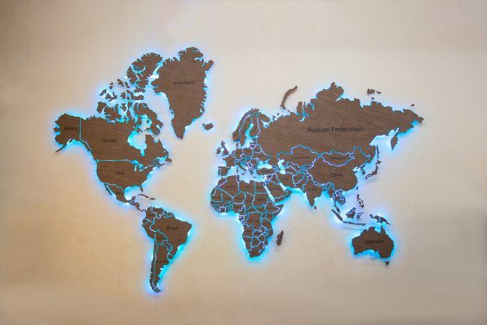 Карта мира на стену из шпона Файн-Лайн Орех 021СМ