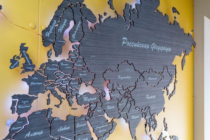 Карта мира из дерева из шпона Файн-Лайн Абрикос 03C Дачный ответ