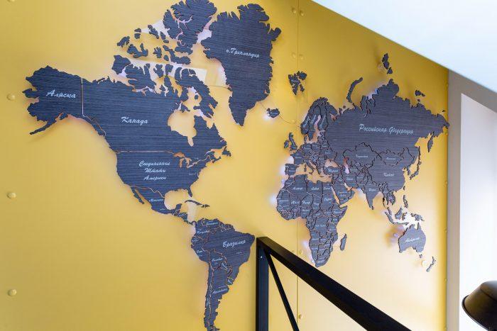 Деревянная карта мира из шпона Файн-Лайн Абрикос 03C Дачный ответ