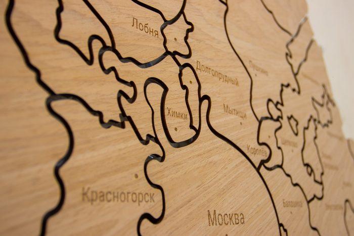 Настенная карта Московской области из шпона Файн-Лайн Дуб605CM