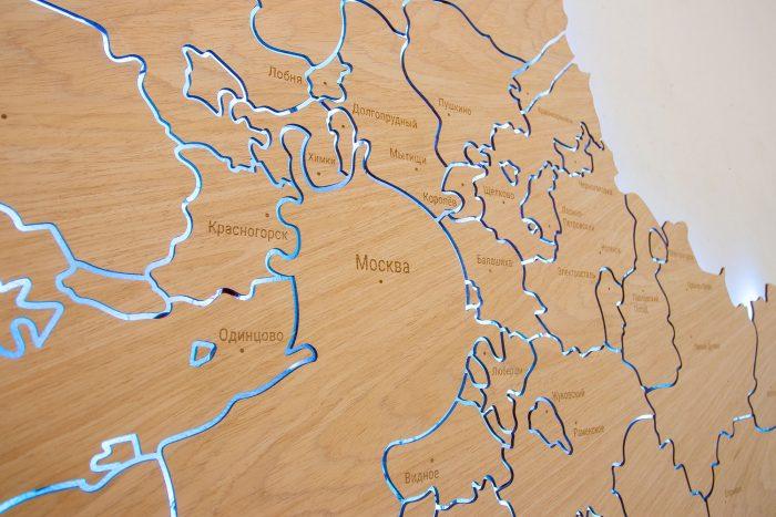 Деревянная карта Московской области из шпона Файн-Лайн Дуб605CM