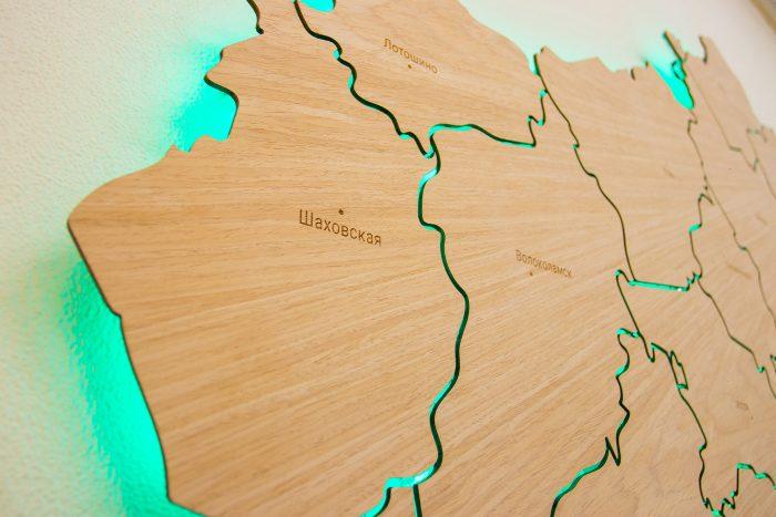 Карта Московской области из шпона Файн-Лайн Дуб605CM