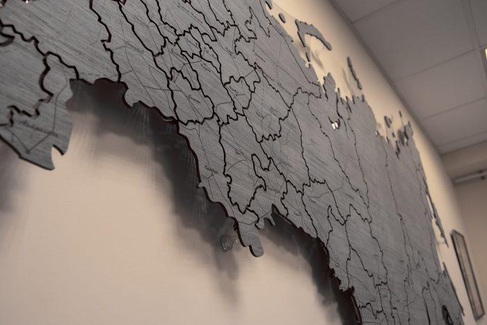 Деревянная карта России из шпона Файн-Лайн Дуб 7S c УФ-печатью РЖД