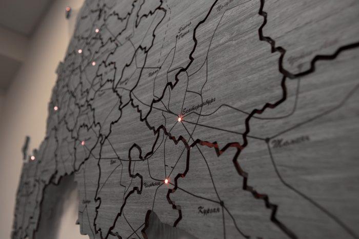 Карта России из шпона Файн-Лайн Дуб 7S РЖД
