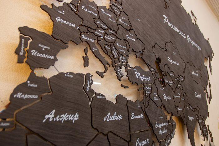 Настенная карта мира из дерева из шпона Файн-Лайн Эбен 069SM с полным зазором
