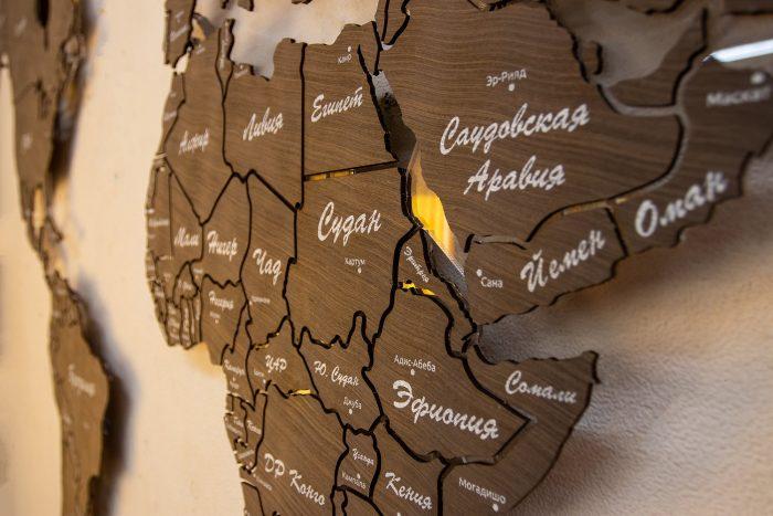 Деревянная карта мира из шпона Файн-Лайн Эбен 069SM с УФ-печатью стран и столиц