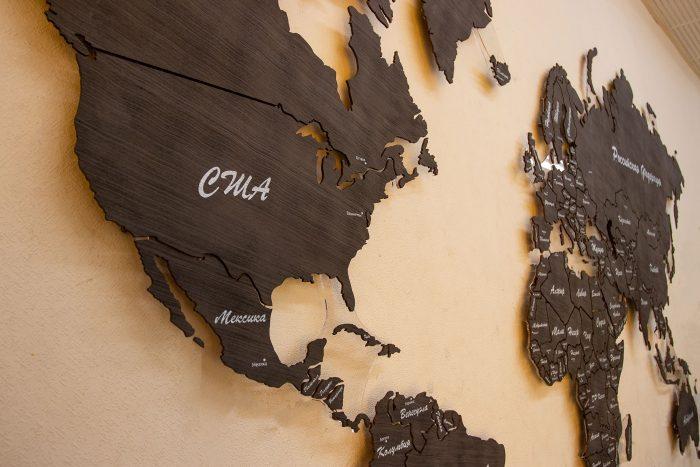 Карта мира из шпона Файн-Лайн Эбен 069SM