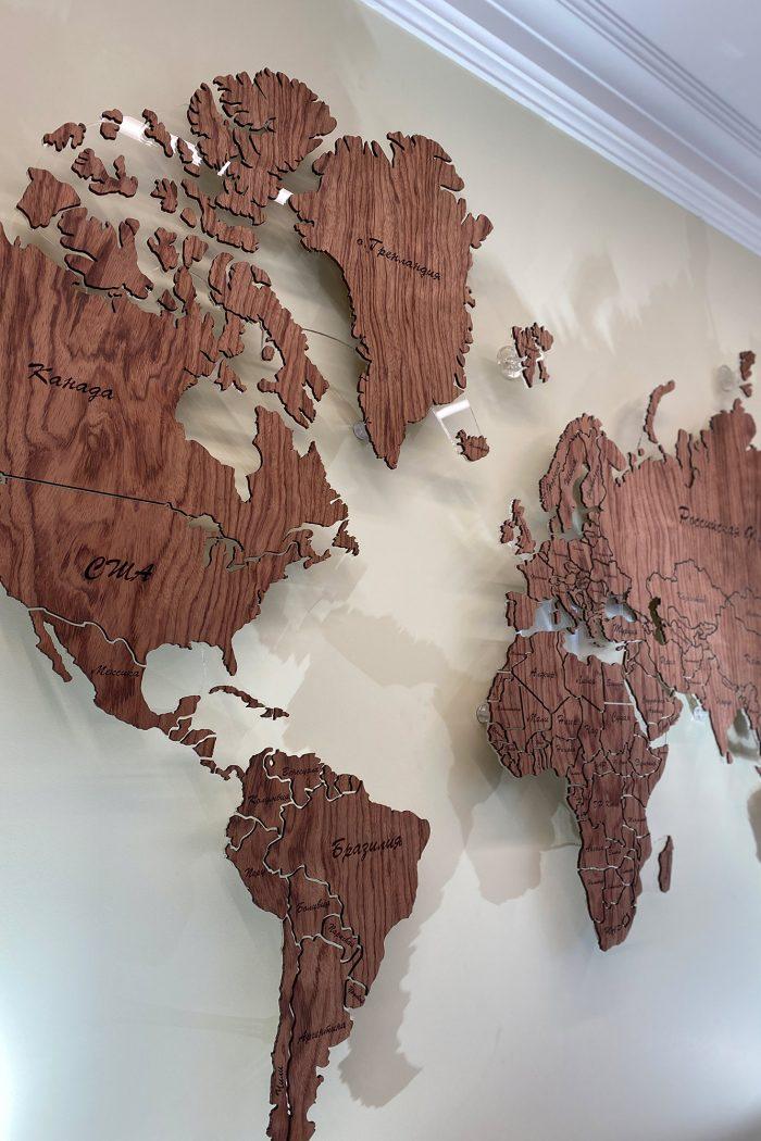 Деревянная карта мира из шпона Файн-Лайн Бубинга 135 с полным зазором