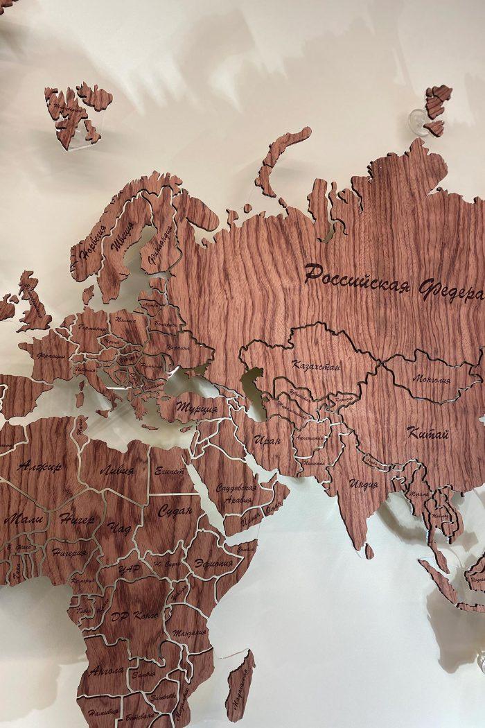 Карта мира из дерева на стену из шпона Файн-Лайн Бубинга 135