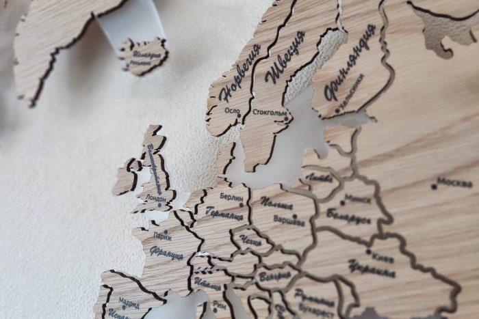 Карта мира серии Elite из натурального шпона Дуб белый