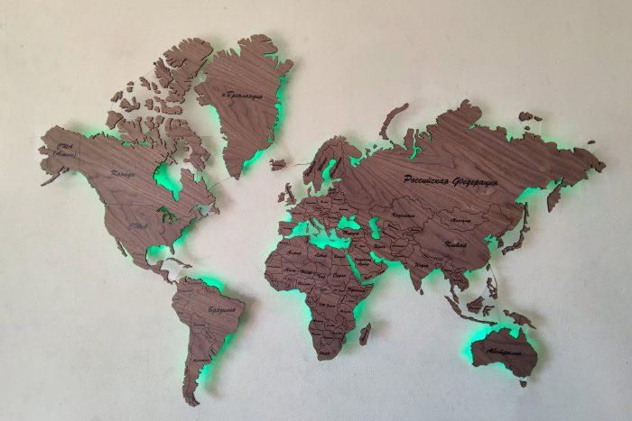 Настенная карта мира серии Standard из натурального шпона Орех Американский с подсветкой