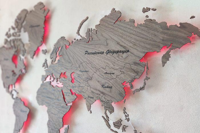 Карта мира серии Standard из натурального шпона Орех Американский